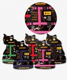 Zestaw szelki i smycz dla dorosłego kota KOCURRO do 56 cm