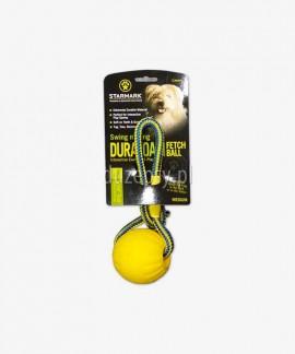 Extra mocna piłka dla psa STARMARK ze sznurkiem pływająca 6,5 cm