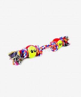 Sznur bawełniany z 2 piłkami zabawka dla psa