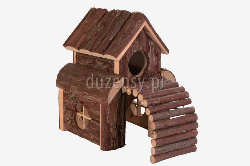 Domek dla chomika lub myszy z rampą drewniany FINN Trixie. Domek drewniany dla gryzoni Trixie, domki dla małych zwierząt, domek dla chomika, domek dla królika, domek dla świnki morskiej; domek dla myszki, akcesoria dla gryzoni, sklep zoologiczny duzepsy.pl;