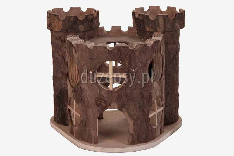 Domek dla chomika lub myszy drewniany PAŁAC MATTI z wieżami Trixie. Domek drewniany dla gryzoni Trixie, domki dla małych zwierząt, domek dla chomika, domek dla królika, domek dla świnki morskiej; domek dla myszki, akcesoria dla gryzoni, sklep zoologiczny duzepsy.pl;