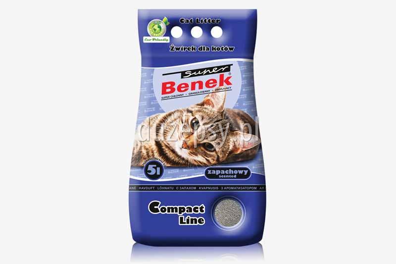 Super Benek Compact Zapachowy żwirek dla kotów zbrylający. Żwirki dla kotów tanio. Żwirek dla kota zapachowy. Sklep zoologiczny internetowy DuzePsy.pl