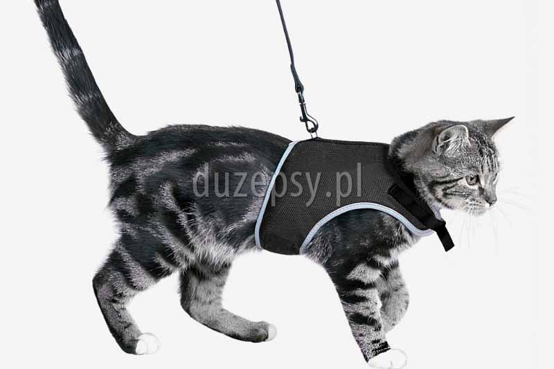 Miękkie szelki dla dużego kota i smycz. Szelki dla dużego kota tanio. Szelki i smycz dla kota. Szelki dla kotów tanio. Szelki dla kotów duże.