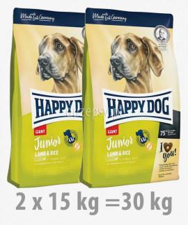 Happy Dog Junior Giant Lamb & Rice karma dla młodych psów bardzo dużych ras 2 x 15 kg