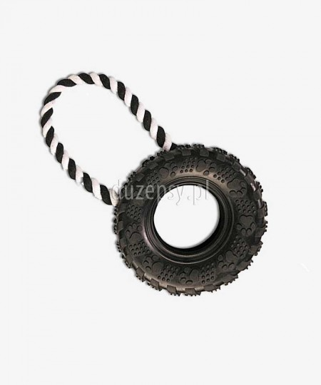 Opona z naturalnej gumy ze sznurkiem zabawka dla psa ø 15 cm/31 cm