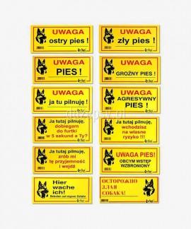 Tabliczki ostrzegawcze dla psów metalowe 10 x 21 cm