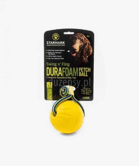 Extra mocna piłka dla psa STARMARK ze sznurkiem pływająca DUŻA 8,9 cm