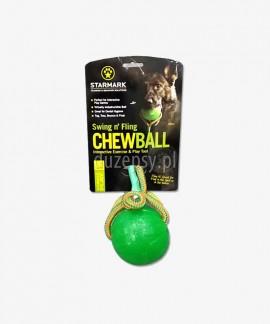 Extra mocna piłka dla psa ze sznurkiem STARMARK Ø 9 cm
