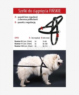 Szelki zaprzęgowe ze skóry dla dużego psa FIŃSKIE Dingo 74-112 cm