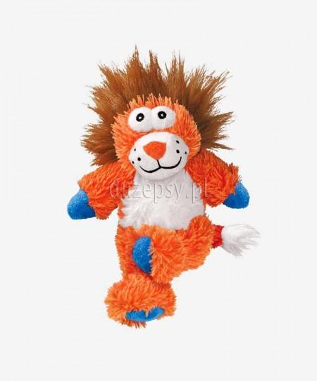 Pluszowa zabawka dla psa ze sznurem i piszczałką Kong Cross Knots Lew 34 cm