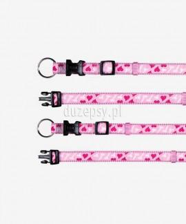Obroża dla psa z taśmy Trixie MODERN ART różowe serduszka 15-65 cm