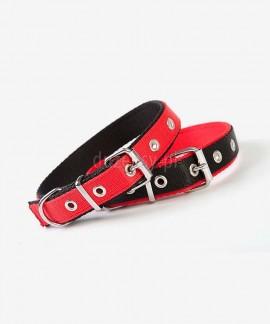 Obroża dla psa z powdójnej taśmy Czarno-Czerwona EXTRA 50-65 cm