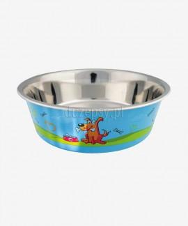 Miska dla psa ze stali nierdzewnej z powłoką z tworzywa sztucznego antypoślizgowy spód Trixie