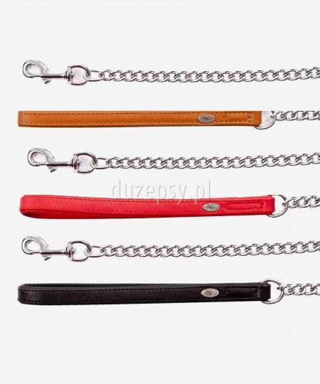 Smycz łańcuchowa dla psa ze skórzaną rączką ROYAL ø 4,0 mm dł. 50 cm