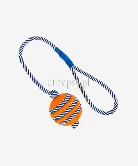 Piłka dla psa z gumy naturalnej z fluorescencyjną linką ø 5 cm/40 cm