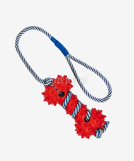 Zabawka dla psa z naturalnej gumy kość z linką fluorescencyjną ø 11 cm/40 cm