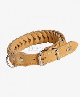 Ekskluzywna obroża dla psa z miękkiej skóry pleciona ŁUSKA 53-74 cm