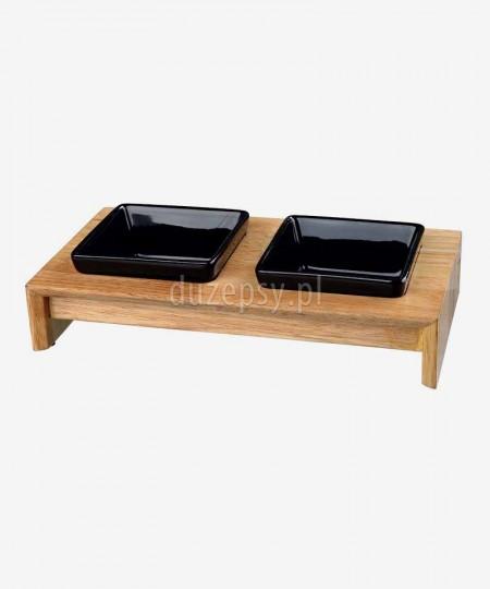 Miski ceramiczne dla kota na drewnianym stojaku Trixie