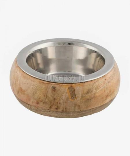 Miska dla psa ze stali nierdzewnej w drewnianej obudowie Trixie