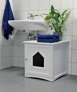 Ekskluzywna kuweta dla kota biała domek drewniany Trixie