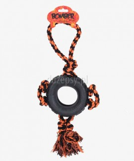 Zabawka dla dużego psa opona ze sznurkiem BOMBER