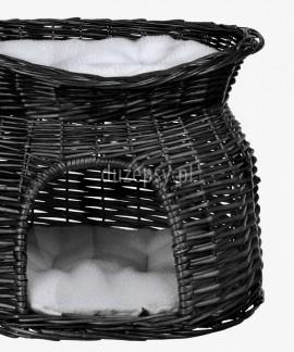 Legowisko z wikliny dla kota czarne podwójne Trixie 54 × 43 × 37 cm
