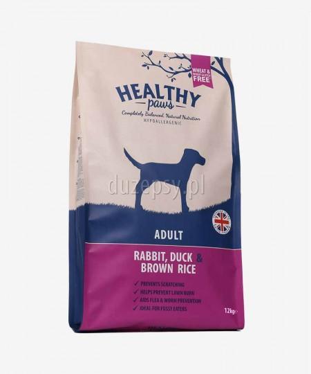 Healthy Paws królik, kaczka i brązowy ryż karma dla psów dorosłych 12 kg