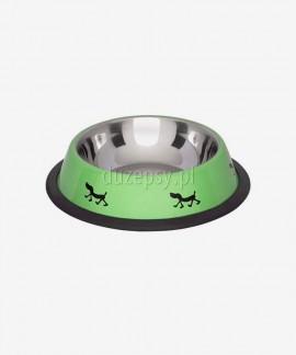 Miska metalowa dla psa na gumie z kolorowym nadrukiem czarna Lolo Pets