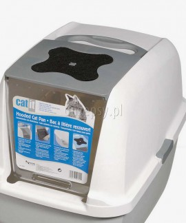 CATIT Kuweta kryta dla kota z filtrem węglowym szara 46 x 40 x 52 cm
