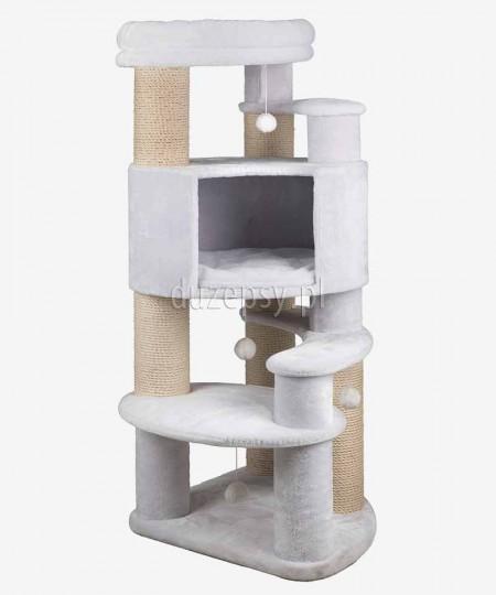 Ekskluzywny drapak dla kota biały z domkiem i legowiskiem ZITA XXL Trixie wys. 147 cm
