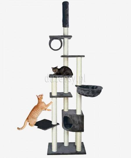 Duży drapak dla kota do sufitu MADRID Trixie szary wys. 245-270 cm
