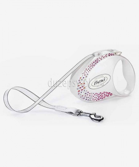 Ekskluzywna smycz automatyczna dla psa z kryształkami Swarovskiego® Flexi GLAM Composition S taśma 3 m BIAŁA