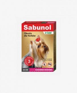 SABUNOL obroża przeciw kleszczom i pchłom dla Yorka ozdobna różowa 35 cm