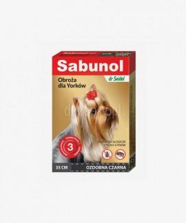 SABUNOL obroża przeciw kleszczom i pchłom dla Yorka ozdobna czarna 35 cm