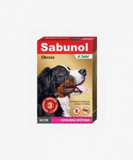 SABUNOL obroża na kleszcze i pchły dla średniego psa ozdobna różowa 50 cm