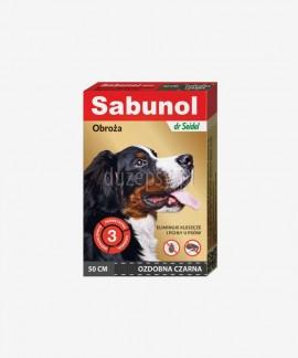 SABUNOL obroża na kleszcze i pchły dla średniego psa ozdobna czarna 50 cm
