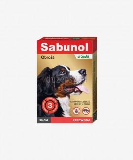 SABUNOL obroża na kleszcze i pchły dla średniego psa ozdobna czerwona 50 cm