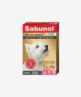 SABUNOL obroża na kleszcze i pchły dla średniego psa ozdobna różowa w łapki 50 cm