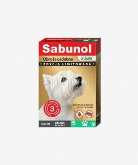 SABUNOL obroża na kleszcze i pchły dla średniego psa ozdobna zielona w łapki 50 cm