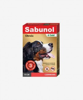 SABUNOL obroża na kleszcze i pchły dla dużego psa czerwona 75 cm