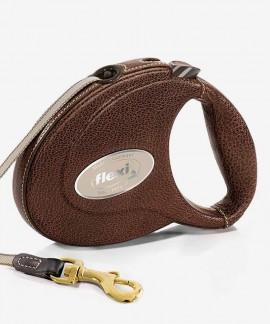 Flexi LEATHER Smycz automatyczna dla psa do 25 kg skórzana, taśma 5 m - roz. M