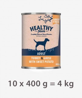 Healthy Paws indyk, gęś, słodkie ziemniaki karma dla psów 10 x 400 g