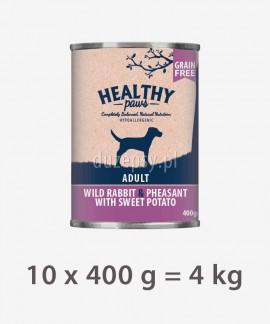 Healthy Paws dziki królik i bażant karma dla psów 10 x 400 g