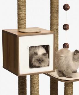 Drapak dla kota drewniany z domkiem exclusive Catit Vesper High Base wys. 121 cm