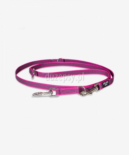 Smycz dla psa regulowana z taśmy gumowanej Julius-K9 ® różowa, 220 cm