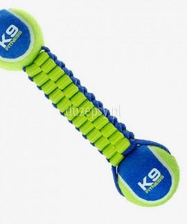 Zabawka do przeciągania z psem Zeus K9 Fitness z 2 piłkami, 53 cm