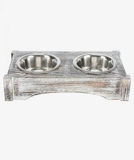 Miski dla psa na drewnianym stojaku Trixie