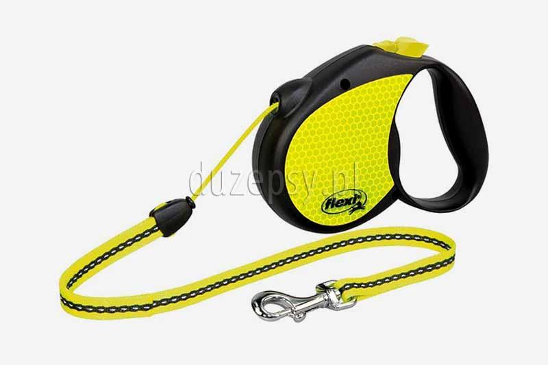 Smycz automatyczna Flexi Neon REFLEKT M linka 5 m dla psów do 20 kg. Smycz automatyczna dla małego psa. Smycze Flexi dla psów. Smycze Flexi dla małego psa oferuje sklep zoologiczny DuzePsy.pl