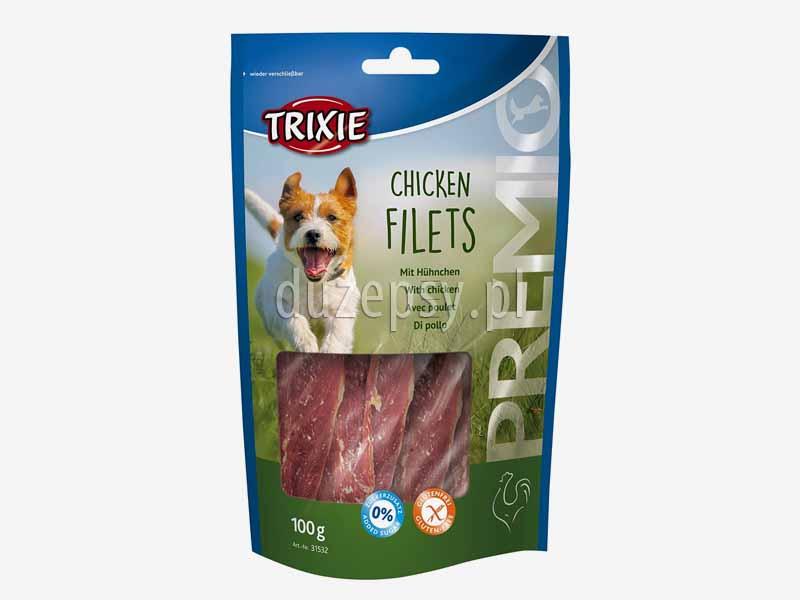 Trixie Premio filet z kurczaka przysmak dla psa; przysmaki dla psa z suszonym mięsem; smakołyki dla psów mięsne; suszony kurczak dla psa; poczęstunki dla psa bez glutenu; bezglutenowe przysmaki dla psa; mięso suszone dla psów; przysmaki Trixie dla psa; sklep zoologiczny; DuzePsy.pl