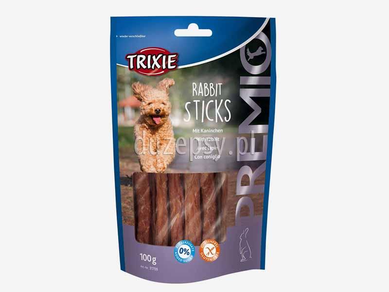 Trixie Premio kabanosy z królikiem przysmaki dla psa; kabanosy dla psa tanio; suszone mięso królika dla psów; naturalne przysmaki dla psa; przysmaki dla psów z królikiem; mięsne przysmaki dla psa; przysmaki dla psa z suszonym mięsem królika; suszony królik dla psa; smakołyki dla psów; poczęstunki dla psa; przysmaki Trixie dla psa; sklep zoologiczny; DuzePsy.pl